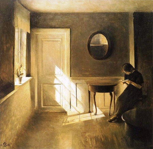 'Girl Reading in a Sunlit Room' Carl Vilhelm Holsøe