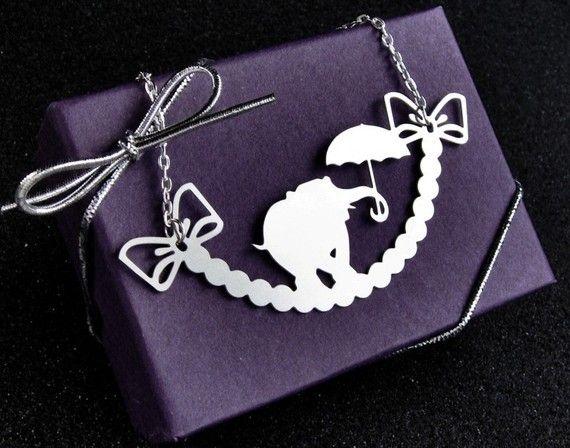 Elephant necklace. Brushed finish steel pendant measures 3 inches. $20