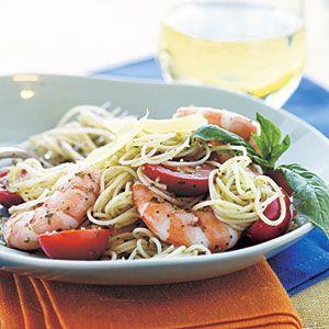 Pesto Shrimp Pasta Recipe no cheese, and made my own pesto, Plus added ...