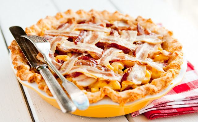 Desserts for Breakfast:Macaroni and cheese pie with bacon lattice top