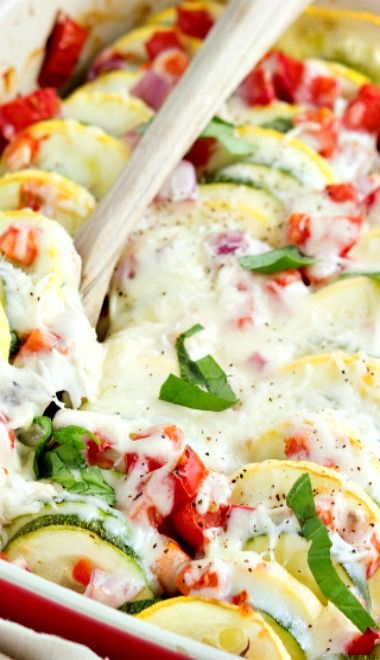 zucchini and summer squash gratin with fresh roma tomatoes and red ...