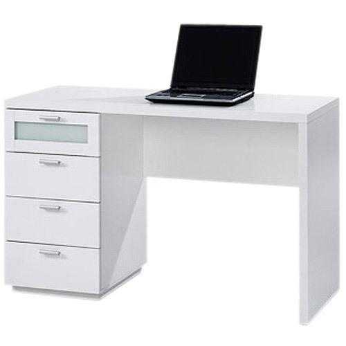 modern white desk offers four drawers with maple finished interior