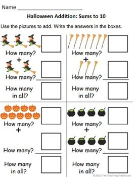 Halloween themed addition & subtraction worksheets, sums/numbers to 10 ...