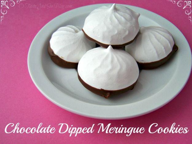 Chocolate Dipped Meringues Recipe — Dishmaps