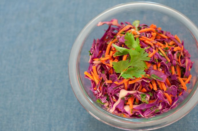 red cabbage slaw for spicy fish tacos (but made it without the honey ...