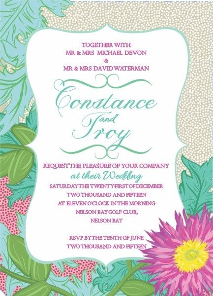 Wedding invite for beach weddings, Seychelles in sand design