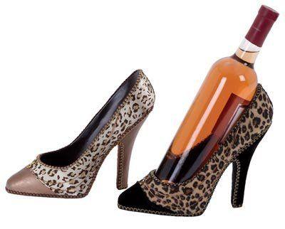 High Heel Shoe Wine Bottle Holder Lot of 2 Leapord Skin Pattern by