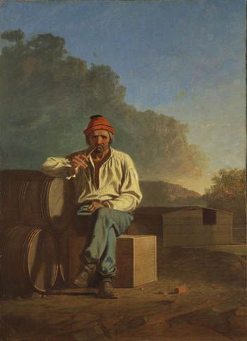E Chester Painting George Caleb Bingham (1811-1879), Mississippi Boatman, 1850, oil on ...