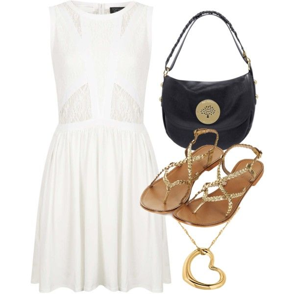 Topshop white lace dress and sandals with the Daria Mulberry bag.