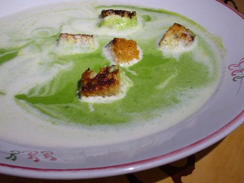 Spring Pea Soup, Garlic Croutons, Lemongrass Cream recipe on Food52 ...