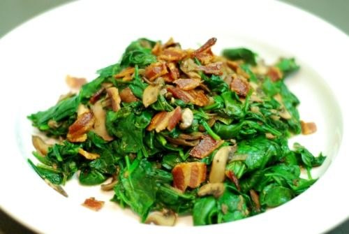 Sautéed Spinach with Bacon, Bacon Grease, Shallots, & Mushrooms ...