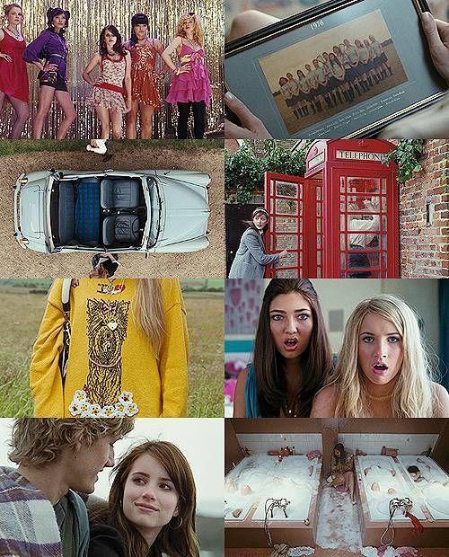 Grid collage du film wild child avec emma roberts et alex pettyfer