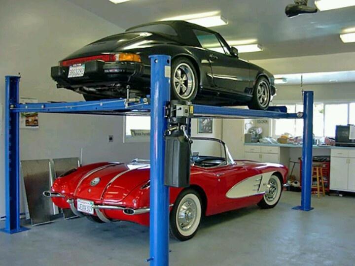 Stacked garage garage workbench pinterest for Car lift garage plans