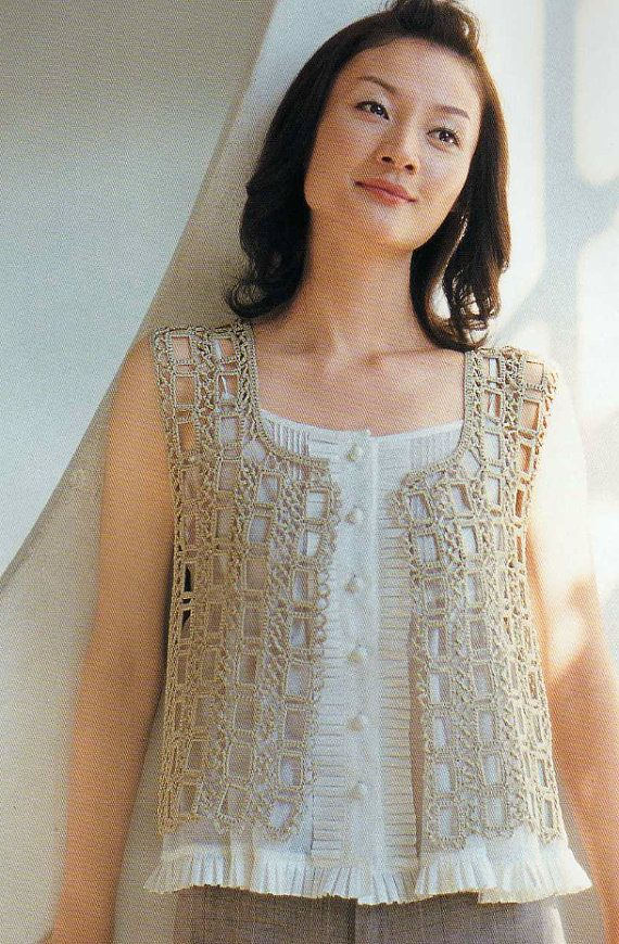 Top Knitting Pattern Books : Crochet Lace Summer Vest Top Blouse Pattern - Japanese Knitting Book