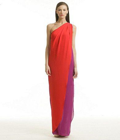 Belle badgley mischka red colorblocked dress at dillard s