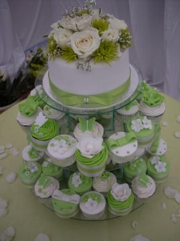 Lime Green And White Wedding Cake Wedding Cupcakes Pinterest