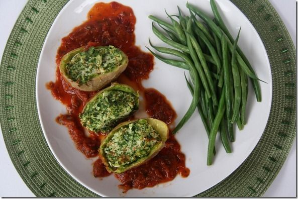 Potato Stuffed with Spinach and Cheese..sounds ridiculously good!