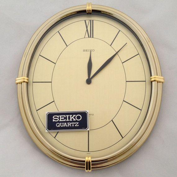 Vintage seiko quartz wall clock modern gold tone nib for Seiko quartz wall clock