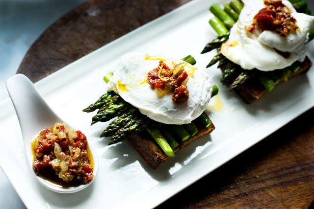 ... home: Asparagus and Poached Egg on Toast with Warm Bacon Vinaigrette