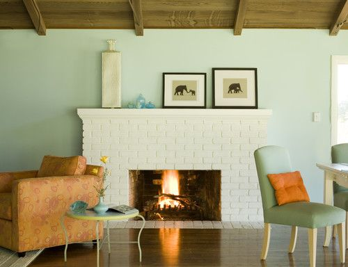 painted white brick fireplace for the home pinterest