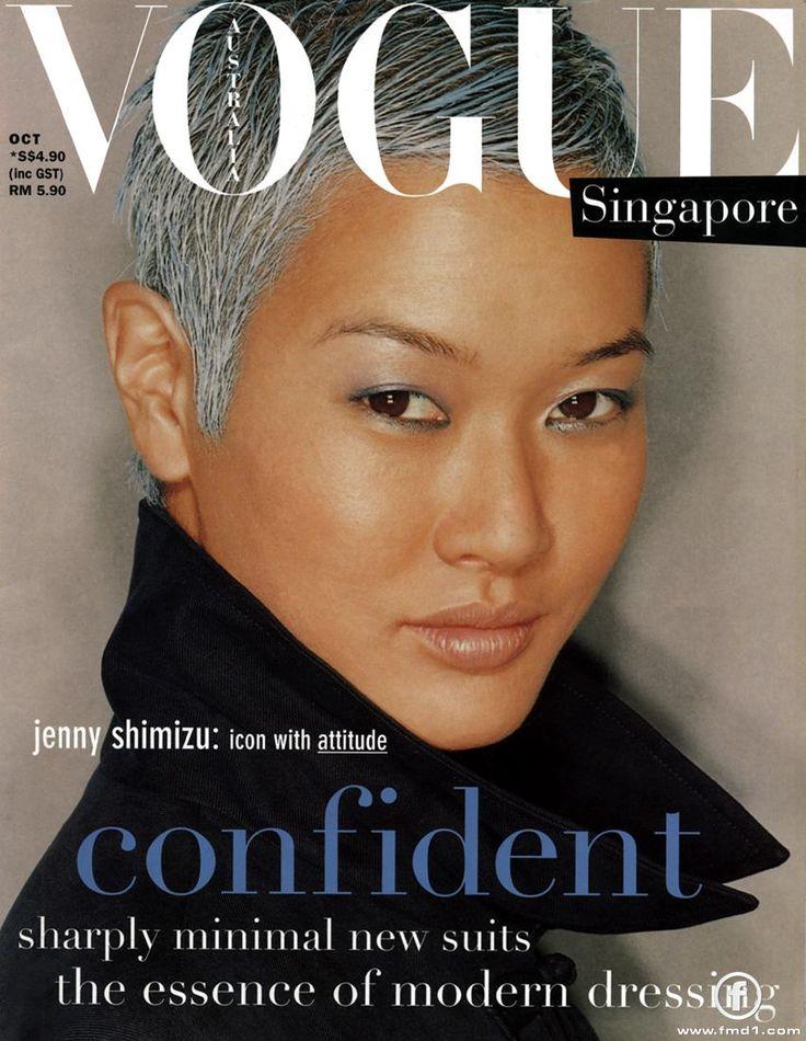 #icon ~ androgynous model Jenny Shimizu, cover of #vogue magazine #singapore ~ #androgynous #androgyny #model #jennyshimizu #fashion #silver #hair #hairstyle #lesbian #Asian #LGBTQ #icon #iconoclast #gorgeous #magazine #cover