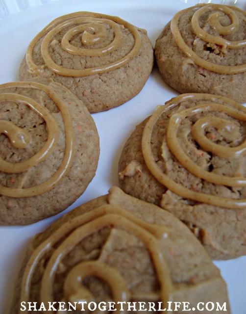 carrot cake cookies with brown sugar cinnamon cream cheese glaze