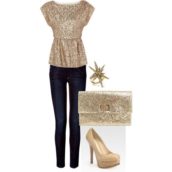 Great date night outfit!  Neutral & sparkles!