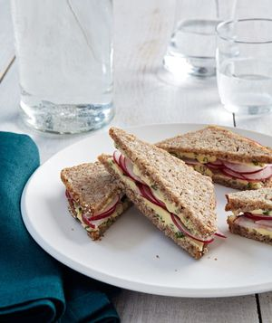 Radish Tea Sandwich ~ Not being fond of butter, I would use herbed or ...