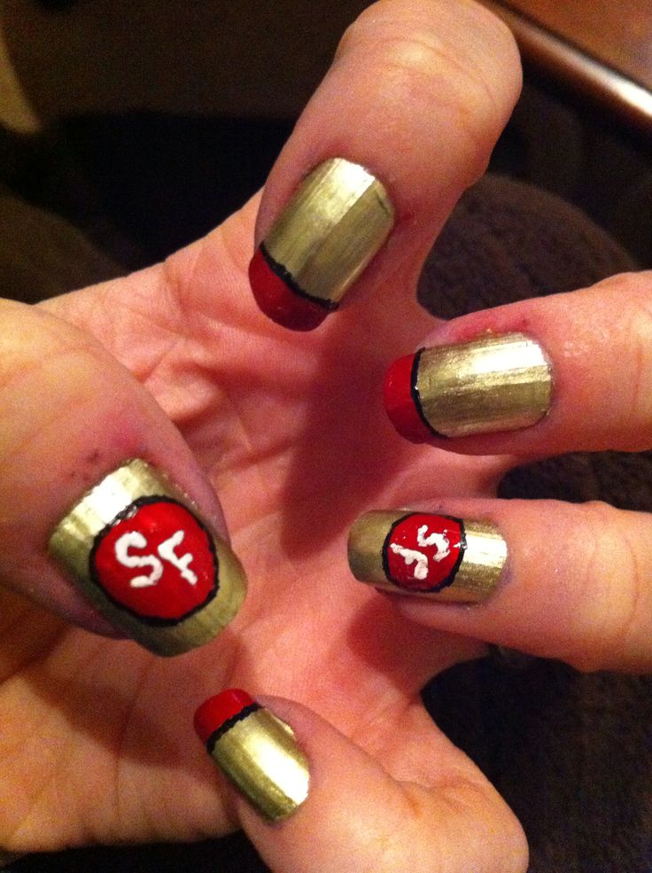 49ers nail art! Go niners!   Emma   Pinterest