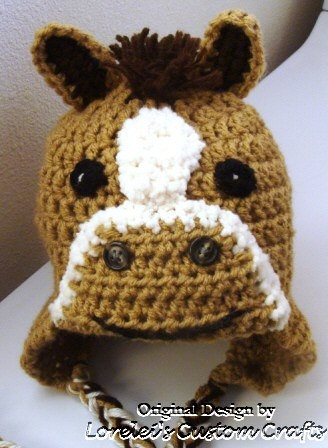 Free Crochet Pattern For Horse Hat : Crochet horse, pony hat with mane. Available in tan or ...