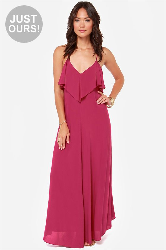 LULUS Exclusive Silent Lagoon Berry Pink Maxi Dress at LuLus.com