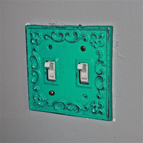 Laguna green decorative light switch plate double switch for Unique light switch plates