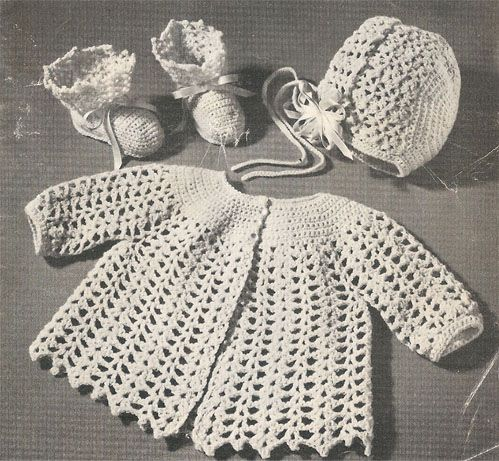 """Crocheted Sacque, Cap and Bootees Set #-636″ pattern"