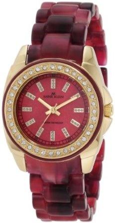 Anne Klein Women's 10/9668BMBE Swarovski Crystal Accented Berry Marbleized Gold-Tone Case Resin Bracelet Watch