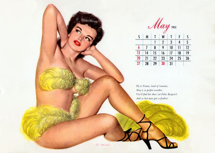 Miss May 1951. Illustration by Al Moore for Esquire Calendar .