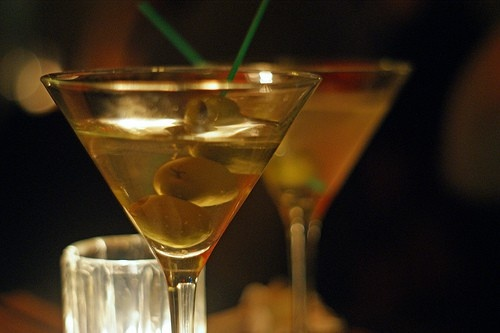 Extra dirty martinis with Blue cheese stuffed olives