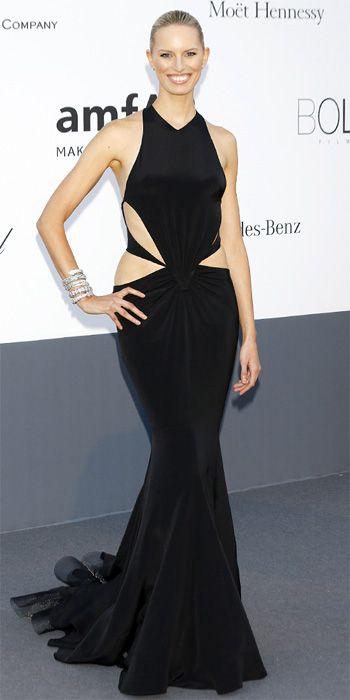 Karolina Kurkova in black Roberto Cavalli in Cannes 2013