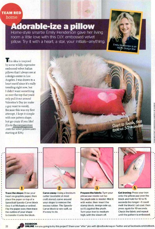 The Company Store's velvet pillowcase was featured in a Valentine's Day DIY piece for Redbook (Feb 2014) by designer Emily Henderson!