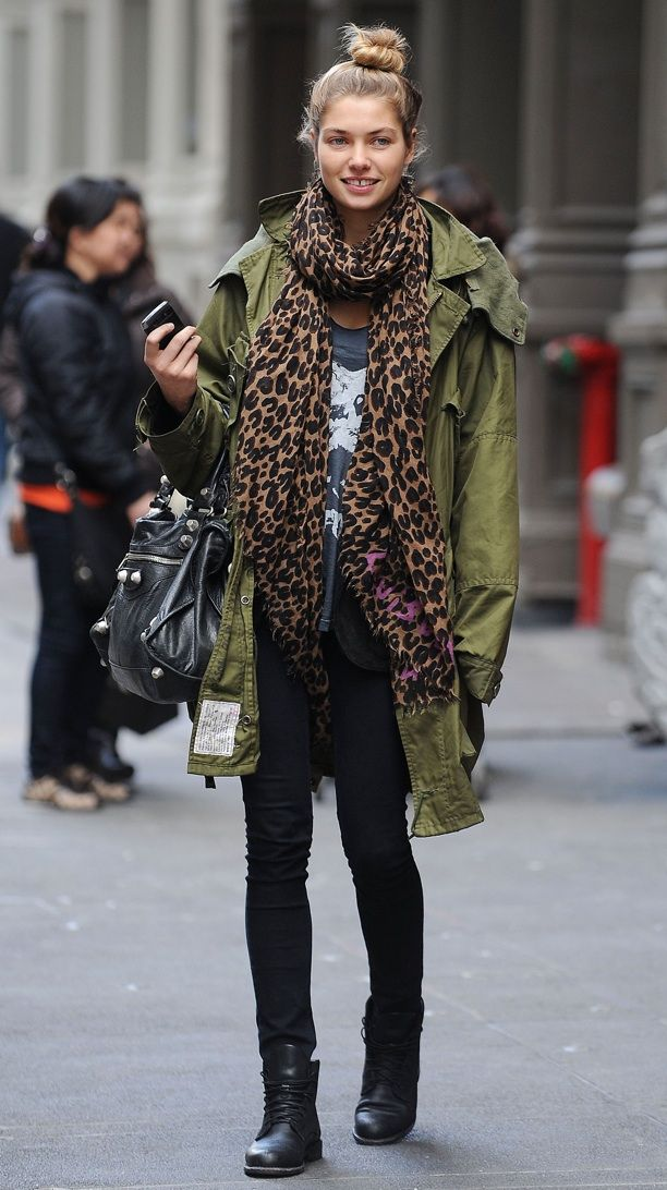Love this look: Casual army jacket, leopard print scarf, skinny jeans, black leather ankle booties, black Balenciaga motorcycle bag.