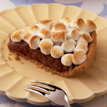 mores Pie -graham cracker crust + -chocolate ice cream or pudding ...