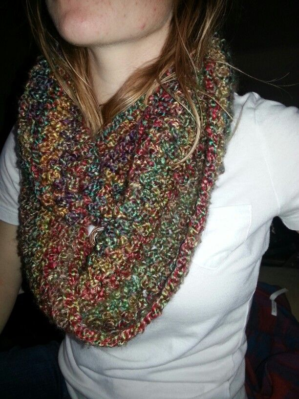 Crochet Patterns For Homespun Yarn : crocheted infinity scarf. Lion Brand homespun yarn. My ...