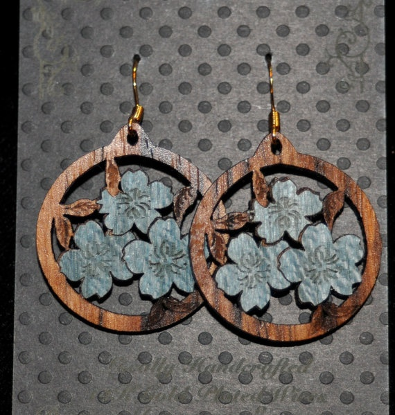 Design Imagery Engraving - Wood inlay Earrings. Want.