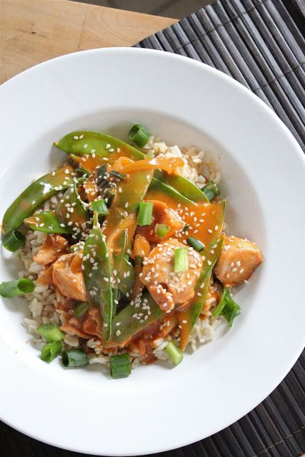 Eat Good 4 Life » Sweet and Spicy barbeque chicken with snap peas
