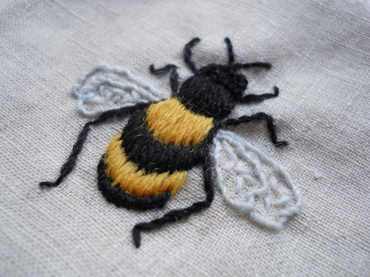 Embroidered bee crafts pinterest