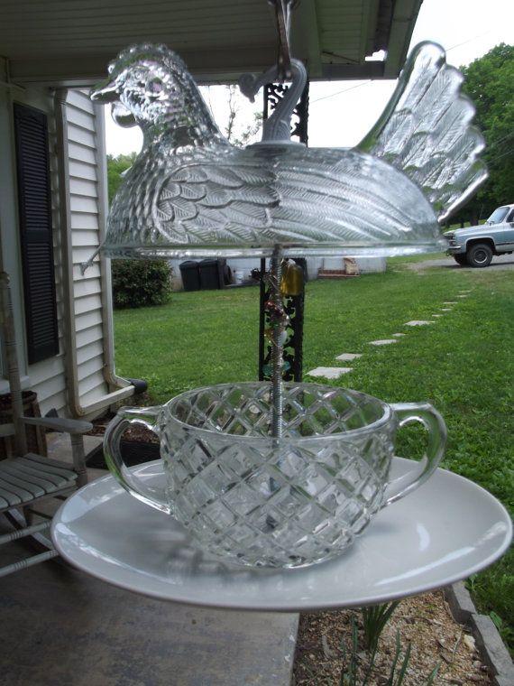 Upcycled glass bird feeder for Upcycled bird feeder