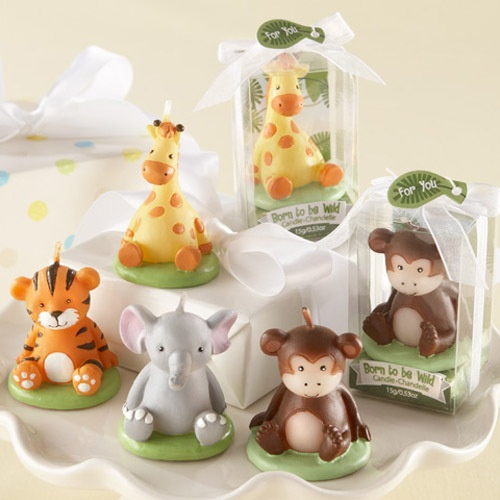 baby shower candles by beau coup jungle animal baby shower theme