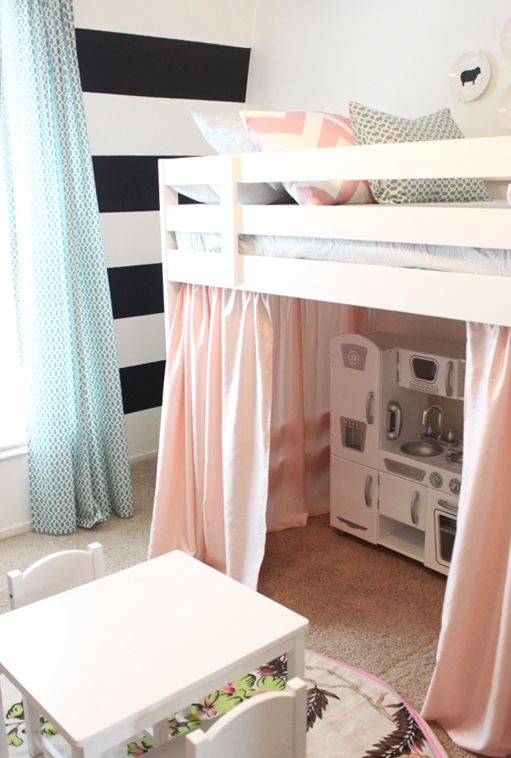 Loft Bed & Play House! great use of small space too! would ven be cool with like bookshelf against back wall and sides like little reading nook. Braelyn would love that! (kitchen, art table and books all in one area)