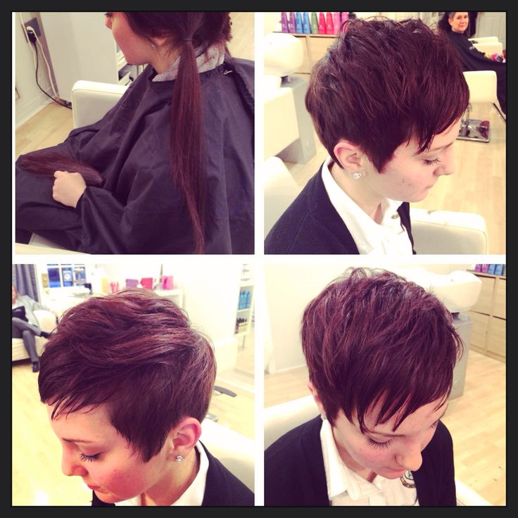 Before and after long to short pixie haircut by Ashley Rogers