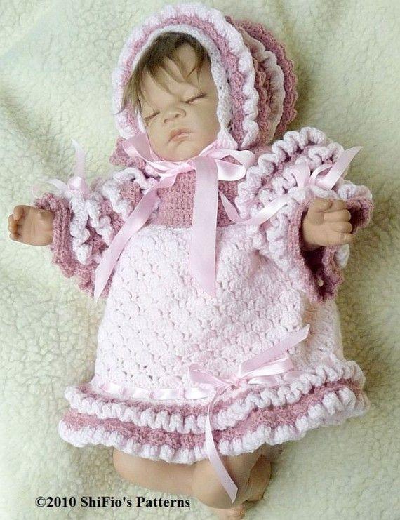 Instant Download Crochet Pattern For Baby Dress & Bonnet ...