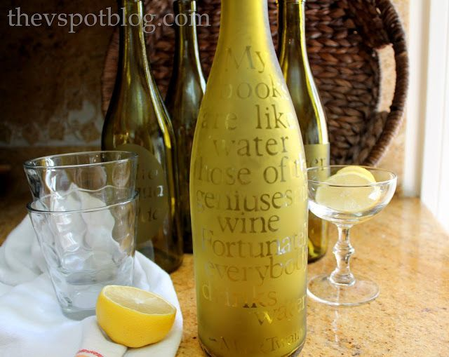 A great use for leftover wine bottles - Wine bottle turned into etched water carafe.